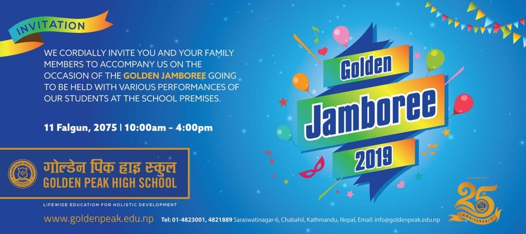 GOLDEN JAMBOREE 2019/2075, FEBRUARY 23RD, 10:00 A.M- 4:00 P.M