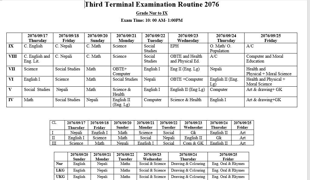 GPHS Third terminal examination-2076