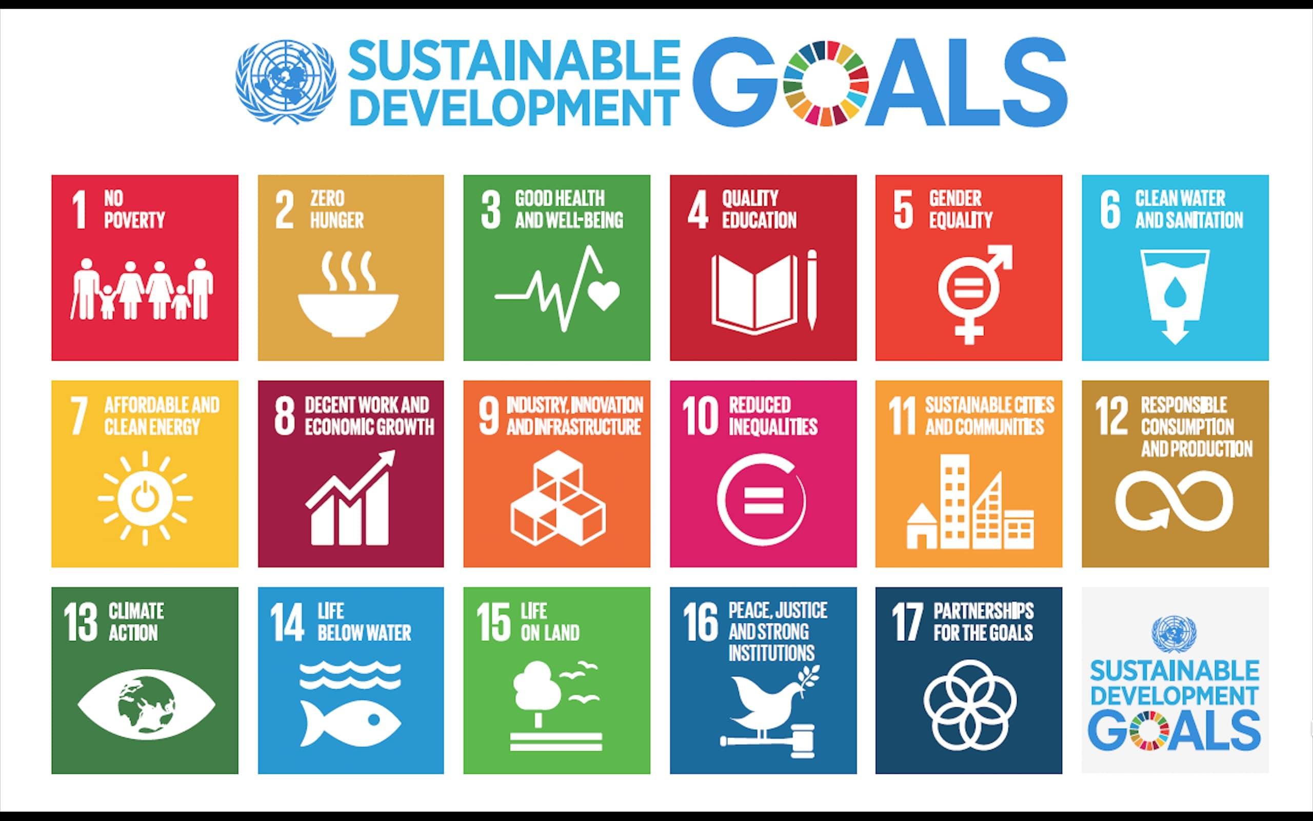 banner containing 17 SDGs